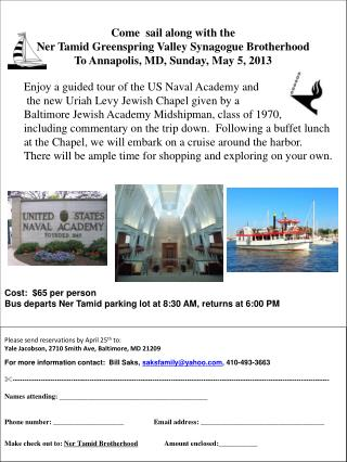 Come   sail along with the  Ner  Tamid  Greenspring  Valley Synagogue Brotherhood