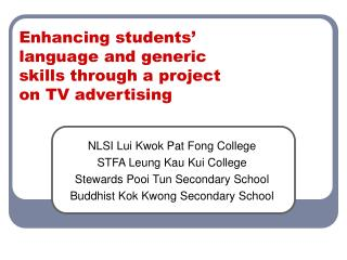 Enhancing students' language and generic skills through a project on TV advertising