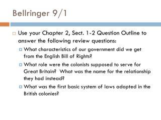 Bellringer  9/1