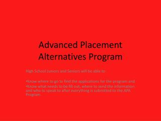 Advanced Placement Alternatives Program