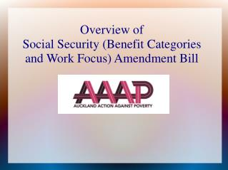 Overview of  Social Security (Benefit Categories and Work Focus) Amendment Bill