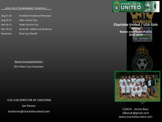 "Charlotte United / U16 Girls ""White""  Roster and Player Profile  2013-2014"