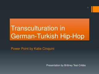 Transculturation in  G erman-Turkish Hip-Hop