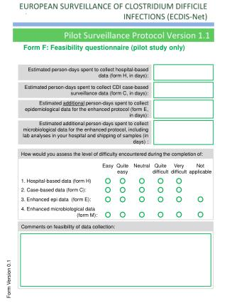 Form F: Feasibility questionnaire (pilot study only)