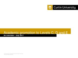 Academic promotion to Levels C, D and E