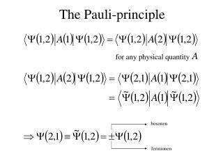 The Pauli-principle
