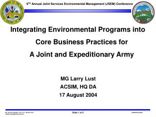 9 TH  Annual Joint Services Environmental Management (JSEM) Conference