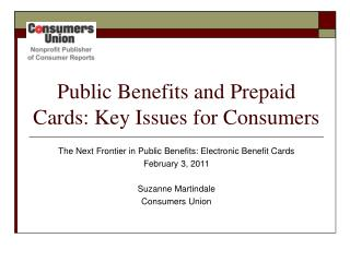 Public Benefits and Prepaid Cards: Key Issues for Consumers