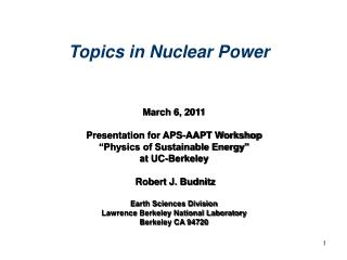 "March 6, 2011 Presentation for APS-AAPT Workshop  ""Physics of Sustainable Energy"" at UC-Berkeley"