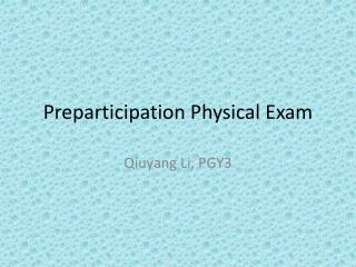 Preparticipation Physical Exam