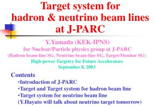 Target system for  hadron & neutrino beam lines  at J-PARC