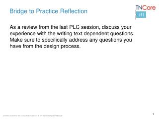 Bridge to Practice Reflection