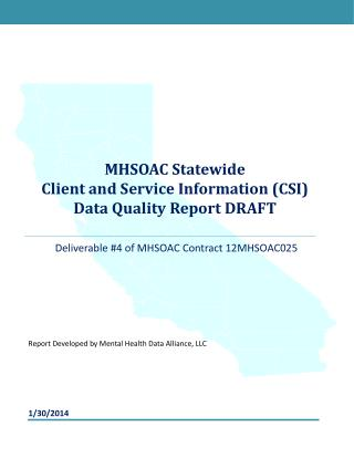 MHSOAC Statewide  Client and Service Information (CSI)  Data Quality Report DRAFT