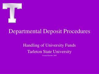 Departmental Deposit Procedures