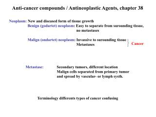 Anti-cancer compounds / Antineoplastic Agents, chapter 38