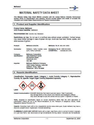 SDS Global Harm Methanol