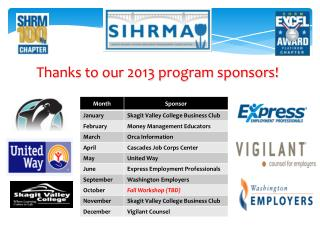 Thanks to our 2013 program sponsors!