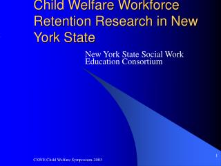 Child Welfare Workforce Retention Research in New York State
