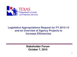 Stakeholder Forum October 7, 2010