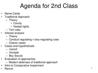 Agenda for 2nd Class