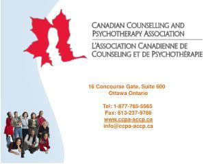 16  Concourse Gate , Suite 600   Ottawa Ontario Tel: 1-877-765-5565  Fax: 613-237-9786