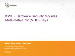 KMIP - Hardware Security Modules Meta-Data-Only (MDO) Keys