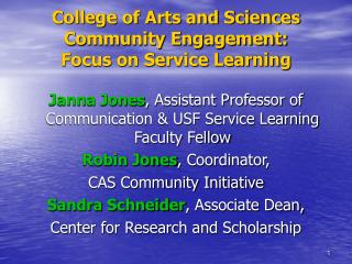 College of Arts and Sciences Community Engagement:  Focus on Service Learning