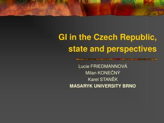 GI in the Czech Republic, state and perspectives