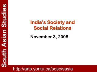 India's Society and  Social Relations