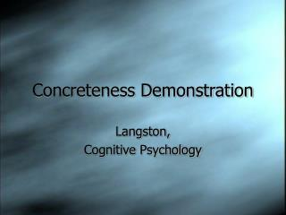 Concreteness Demonstration