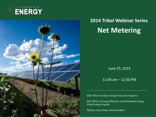 2014 Tribal Webinar Series  Net Metering