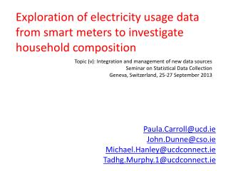 Exploration of electricity usage data from smart meters to investigate household composition