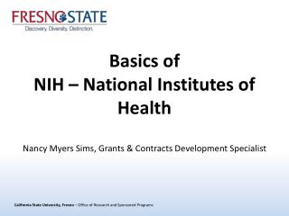 Basics of NIH – National Institutes of Health