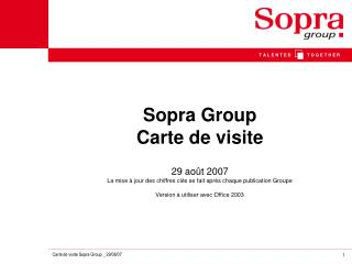 Sopra Group  Carte de visite