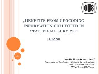 """"""" Benefits from  geocoding  information collected in statistical surveys """" POLAND"""