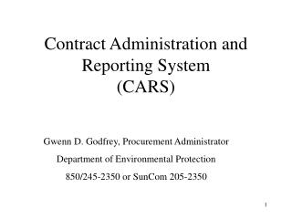 Contract Administration and Reporting System (CARS)