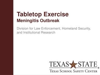 Tabletop Exercise Meningitis Outbreak