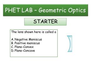 PHET LAB – Geometric Optics