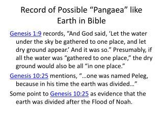 "Record of Possible ""Pangaea"" like Earth in Bible"
