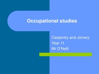 Occupational studies