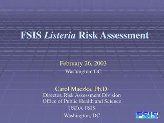 FSIS  Listeria  Risk Assessment