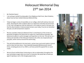 Holocaust Memorial Day 27 th  Jan 2014
