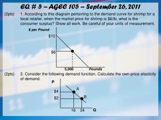 EQ # 5 – AGEC 105 – September 26, 2011