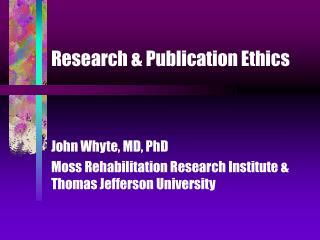 Research & Publication Ethics