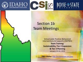 Section 1b Team Meetings