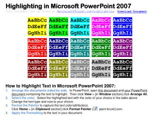 Highlighting in Microsoft PowerPoint 2007