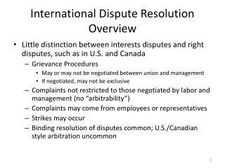 International Dispute Resolution Overview