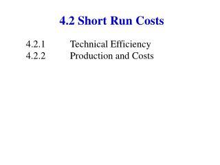 4.2 Short Run Costs