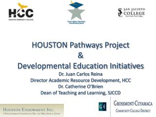 HOUSTON Pathways Project   Developmental Education Initiatives Dr. Juan Carlos Reina Director Academic Resource Developm