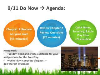 9/11 Do  Now    Agenda: